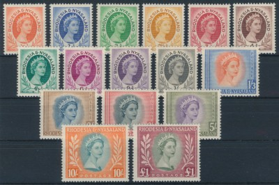 Rhodesia and Nyasaland 1954 SG 1-15. Серия 16 марок. **
